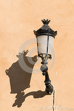 Old streetlamp with shadow