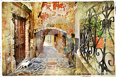 Old streets of Greece, Crete,Chania