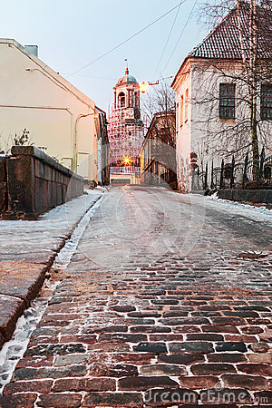 Free Old Streets Of Vyborg At Dawn Royalty Free Stock Images - 49045379