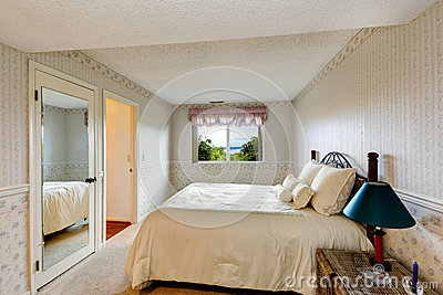 Old style bedroom interior with wallpapers