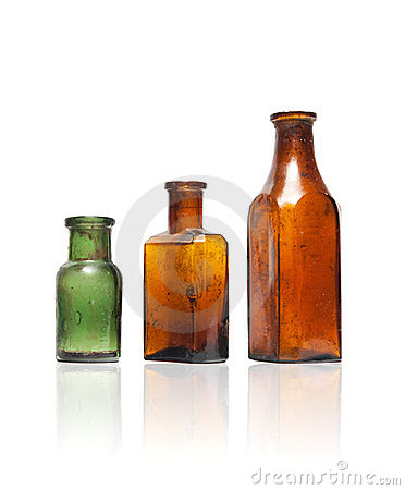 Free Old Style Bottles In Row Stock Photography - 12841442