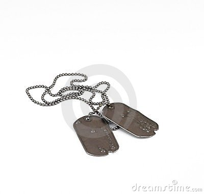 Old style dog tags on white