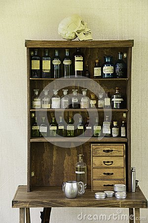 Free Old Style Medicine Cabinet Royalty Free Stock Photo - 103737905