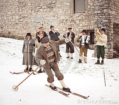 Old-style skiing performance in Slovenia Editorial Photo