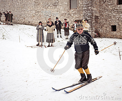 Old-style skiing performance in Slovenia Editorial Stock Image