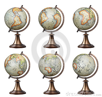 Free Old Style World Globes Royalty Free Stock Photography - 65890187