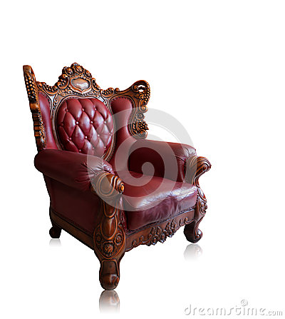 Free Old Styled Brown Vintage Armchair Isolated, Clipping Path. Stock Photos - 44673583