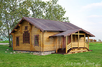 Old stylish wooden cottage