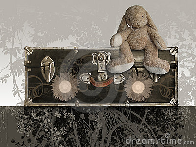 Old suitcase with teddy rabbit