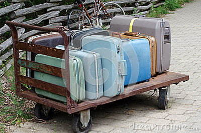 Old suitcase trolley