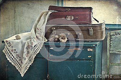 Old suitcases and garlic