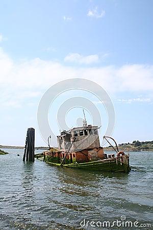 Old Sunken Tugboat