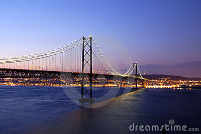 Old suspension bridge, lisbon