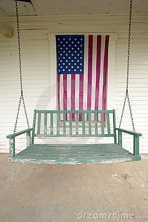 Old swing on porch