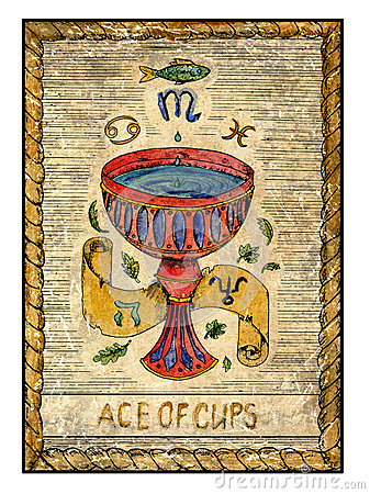 Free Old Tarot Cards. Full Deck. Ace Of Cups Royalty Free Stock Photos - 67139808