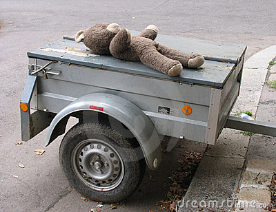 Old teddy on trailer