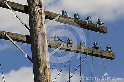 Old Telegraph Wires Dangling from Pole