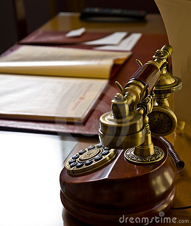 Old telephone on desk