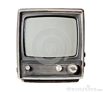 Old television isolate on white