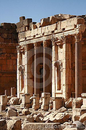 Old temple ruins in Baalbeck Lebanon