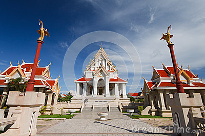 Old thai temple and nice blue sky