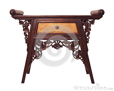 Old  thai wood furniture desk isolated white