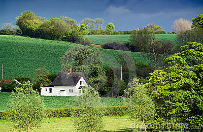 Old thatched cottage, rolling farmland, dappled sunlight