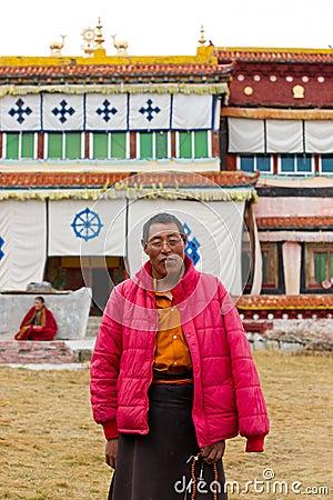 Old tibetan monk Editorial Image