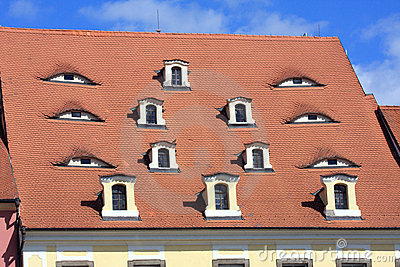 Old tile roof with windows look as eyes, Cheb - Czech Republic