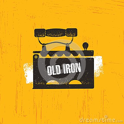 Free Old Time Iron, Vector Icon On Rough Background Royalty Free Stock Image - 103864216