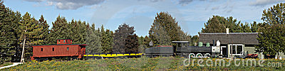 Old Time Steam Locomotive Railroad Train Panorama