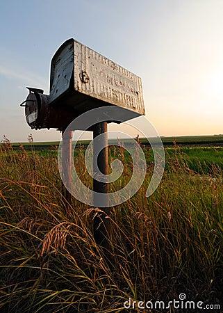 Old Tin Roadside Mailbox in the Prairies