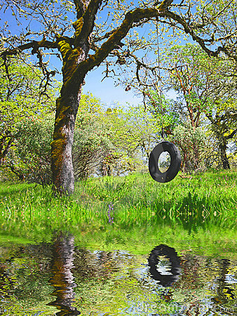Free Old Tire Swing - Childhood Memories Stock Photos - 4677383