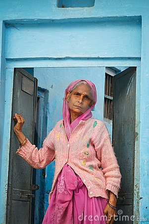 Old tired Indian woman