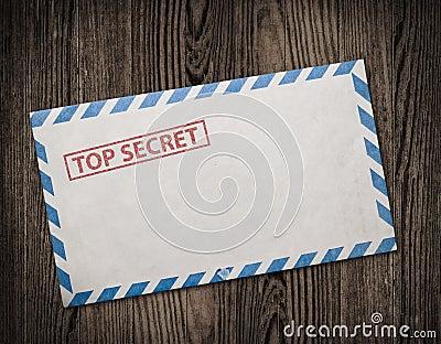 Old top secret envelope on table.