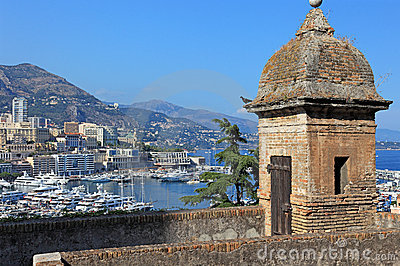 Old tower and Monaco bay.