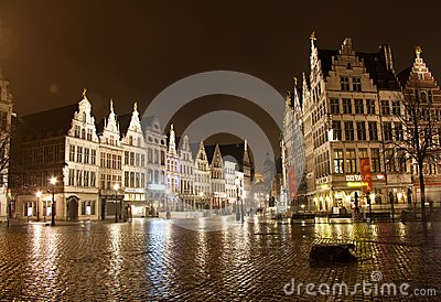 Old town in Antwerp - Belgium - at night Editorial Photo