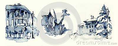 Old town blue ink miniatures illustration sketches
