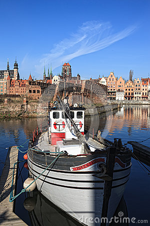 Old Town and boat Editorial Stock Photo