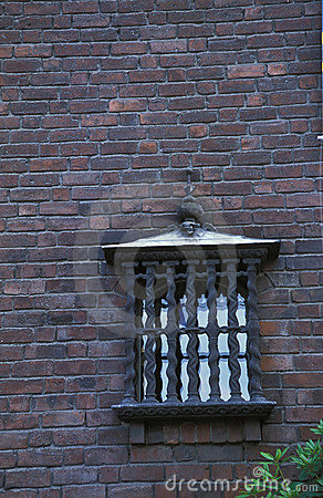 Old town building wall with window