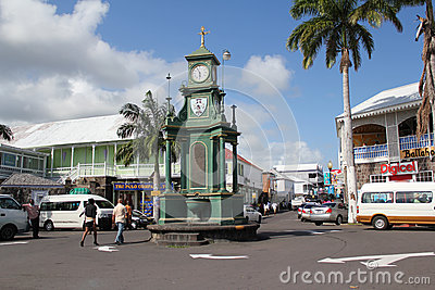 Old town clock, Basseterre, St. Kitts Editorial Image