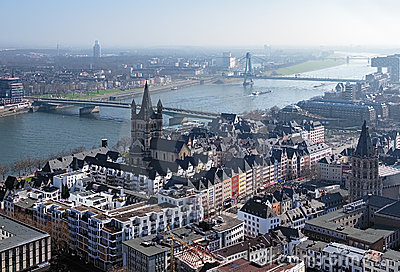Old Town of Cologne and Rhine river, Germany