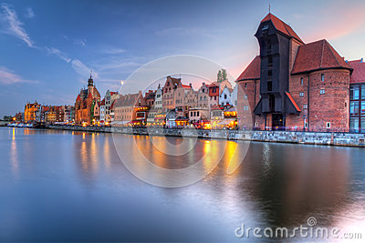 Old town of Gdansk with ancient crane at dusk