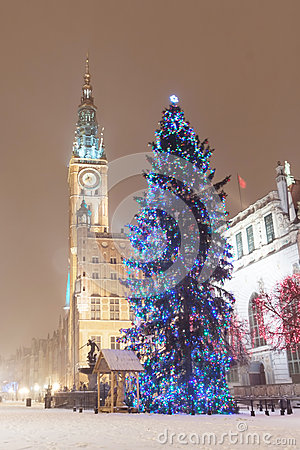 Old town of Gdansk with Christmas tree