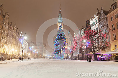 Old Town Of Gdansk With Christmas Tree Stock Photos - Image: 28461333