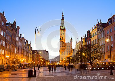 Old town of Gdansk with city hall at night