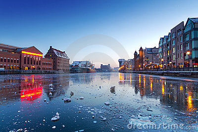 Old town in Gdansk with frozen Motlawa river