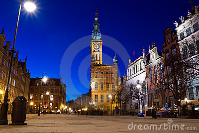 Old Town in Gdansk at night