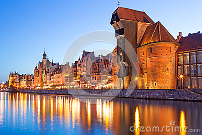Old town of Gdansk at night in Poland