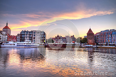 Old town of Gdansk at sunset